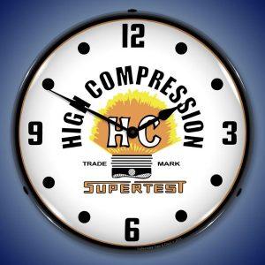 Supertest High Compression Gasoline LED Lighted Wall Clock