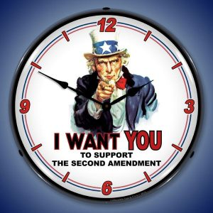 Uncle Sam Support The 2nd Amendment LED Lighted Wall Clock